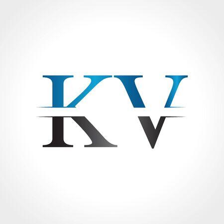Initial KV letter Logo Design vector Illustration. Abstract Letter KV logo Design