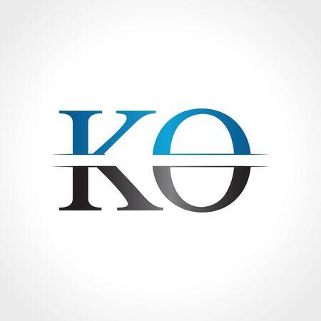 Initial KO letter Logo Design vector Illustration. Abstract Letter KO logo Design