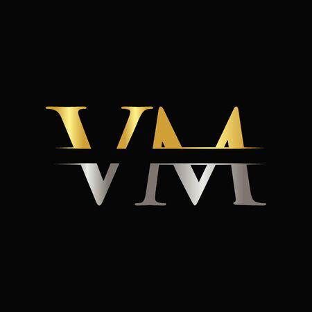 Creative Letter VM Template With gold and Silver Color. VM Design