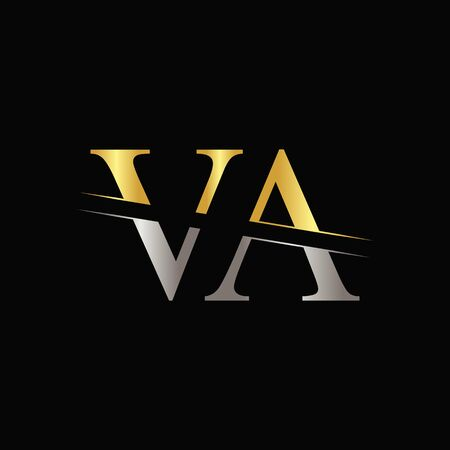 Creative Letter VA Template With gold and Silver Color.
