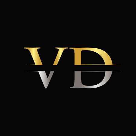 Creative Letter VD Template With gold and Silver Color.