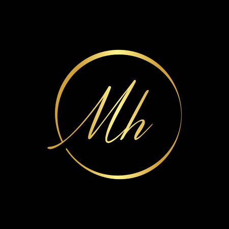 Initial MH letter Logo vector Template. Abstract Letter MH logo Design. Minimalist Linked Letter Trendy Business Logo Design Vector Template.