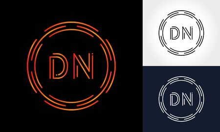 Initial DN Letter Logo With Creative Modern Business Typography Vector Template. Digital Circle Letter DN Logo Design Logo