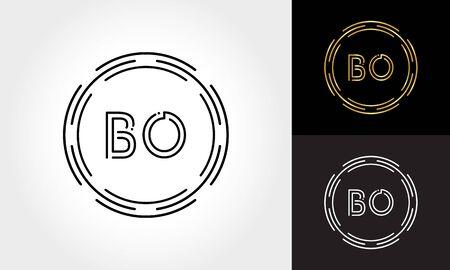 Initial Letter BO Logo Creative Typography Vector Template. Digital Abstract Letter BO Logo Design
