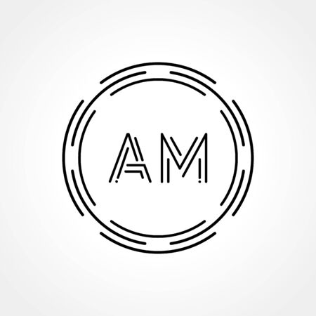 Initial AM Logo Creative Typography Vector Template. Digital Abstract Letter AM Logo Design