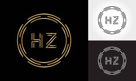 HZ Logo Design Vector Template. Initial Circle Letter HZ Vector Illustration