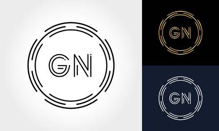 Initial Letter GN Creative Logo Design vector Template. Digital Luxury Letter GN logo Design