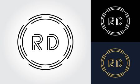 Initial Letter RD Logo Creative Typography Vector Template. Digital Abstract Letter RD Logo Design