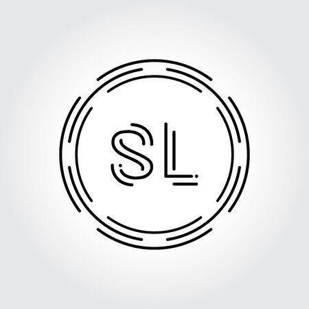 Initial SL Logo Design Creative Typography Vector Template. Digital Abstract Letter SL Logo Vector Illustration Logó