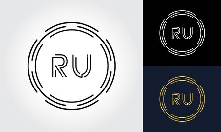 Initial Letter RU Logo Creative Typography Vector Template. Digital Abstract Letter RU Logo Design