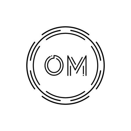 Initial Monogram Letter OM Logo Design Vector Template. Digital Technology OM Letter Logo Design