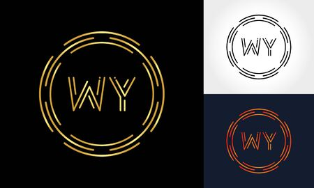 Creative Letter WY Logo Creative Typography Vector Template. Abstract Circle Letter WY Logo Design.