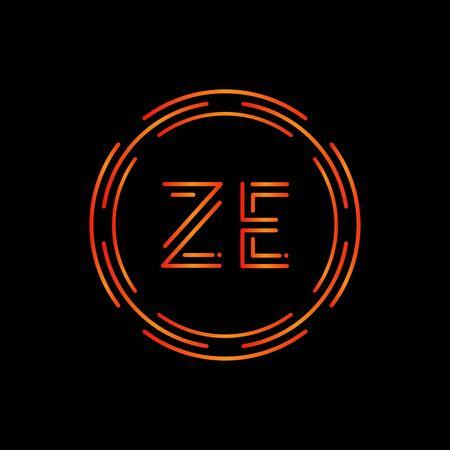 Initial ZE Logo Design Vector Template. Digital Circle Letter ZE Business Logo Vector Illustration