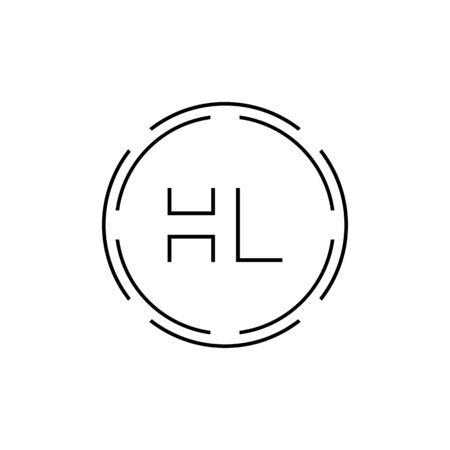 HL Logo Design Vector Template. Initial Circle Letter HL Vector Illustration