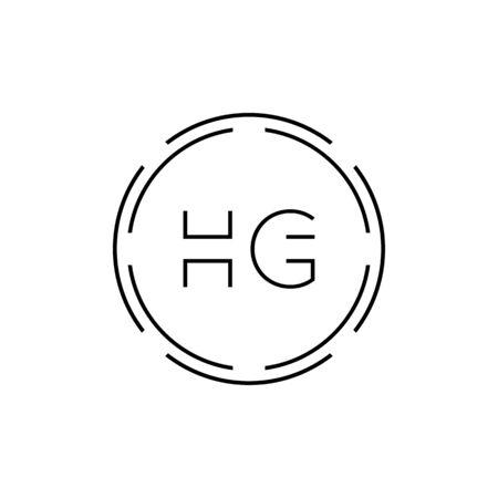 HG Logo Design Vector Template. Initial Circle Letter HG Vector Illustration
