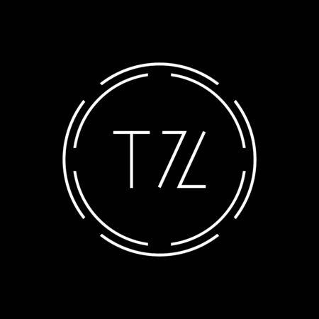 Initial Letter TZ Logo Creative Typography Vector Template. Circle Letter TZ Logo Design