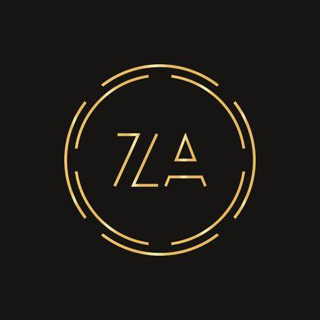 Initial ZA Logo Design Vector Template. Digital Circle Letter ZA Business Logo Vector Illustration