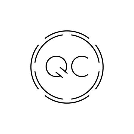 Initial Letter QC Logo Design Vector Template. Digital Abstract Circle QC Letter Logo Design Illustration