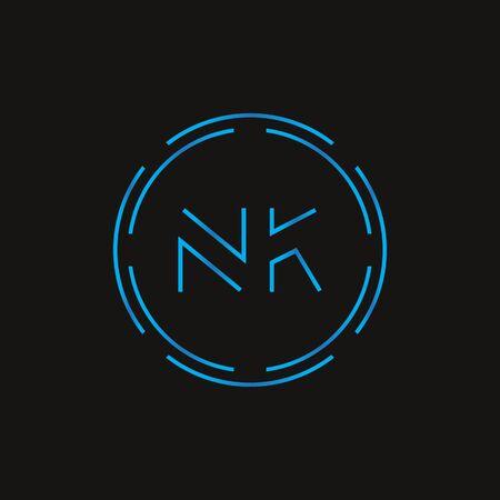 Initial Letter NK Logo Design Vector Template. Digital Abstract NK Letter Logo Design