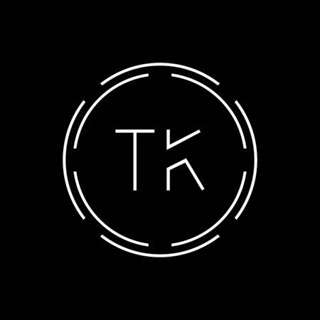 Initial Letter TK Logo Creative Typography Vector Template. Circle Letter TK Logo Design Logó
