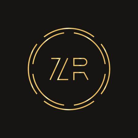 Initial ZR Logo Design Vector Template. Digital Circle Letter ZR Business Logo Vector Illustration Logó