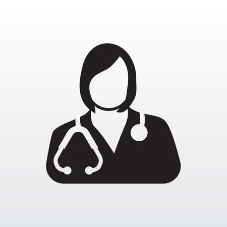 Female doctor icon. Women medical physician vector graphic Illustration