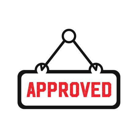 Approved sign trendy vector icon template. Hanging frame approved sign design.