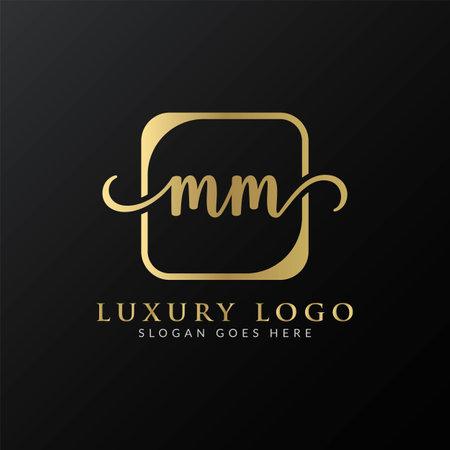 Initial MM letter Logo Design vector Template. Luxury Letter MM logo Design