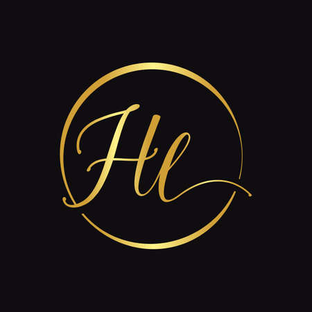 HL Script Logo Design Vector Template. Initial Calligraphy Letter HL Vector Illustration