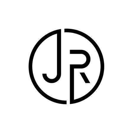 Creative letter JR Logo Design Vector Template. Initial Circle Letter JR Logo Design
