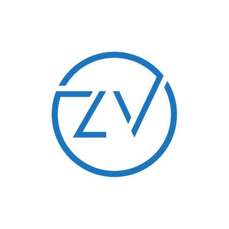 ZV Logo Design Vector Template. Initial Circle Letter ZV Vector Illustration