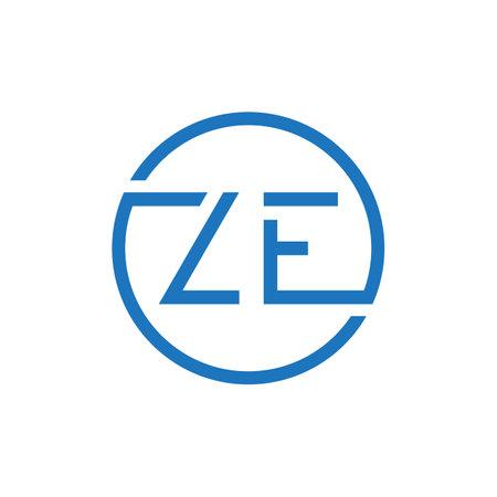 ZE Logo Design Vector Template. Initial Circle Letter ZE Vector Illustration