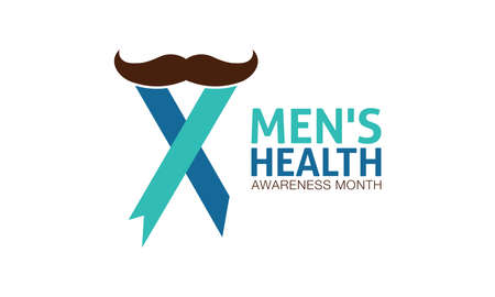 Men's Health Awareness Month in June. Banner, Greeting card, Background Template In Medical Health Awareness Campaign. Vector Illustration