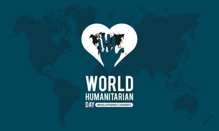 World humanitarian day awareness month vector banner template observed on august
