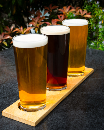 Three craft beers lined up ready to drink in the garden