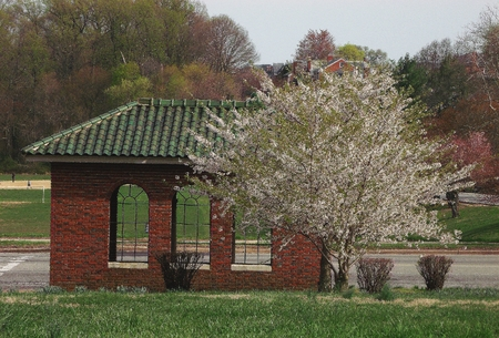 rd: Asian-influenced structure located at bus stop on Harford Rd., at rear entrance to Lake Montebello, in the northeast section of Baltimore,MD.