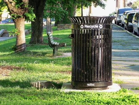 druid: Trash can  recycle bin in Druid Hill Park Baltimore, MD. Stock Photo