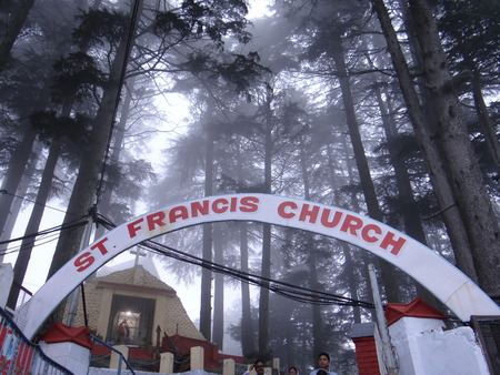 olden day: St. Francis Church, Dalhousie was built in 1894 in the British rule in India Stock Photo