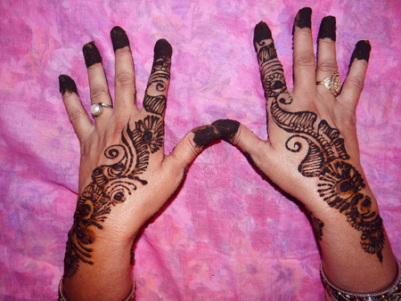 Decorated Hands with Henna