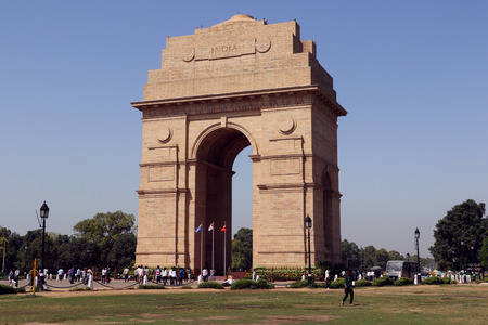 India Gate is certainly one of the most visited spots of Delhi. India Gate was built to memorialize the 70,000 Indian soldiers who lost their lives during the First World War, fighting for the British army. Stock Photo