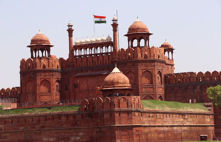 mughal architecture: The Red sandstone s of the massive Red Fort Lal Qila rise 33 meter above the clamour of Old Delhi as a reminder of the magnificent power and pomp of the Mughal emperors. The s, built in 1638, were designed to keep out invader. Editorial