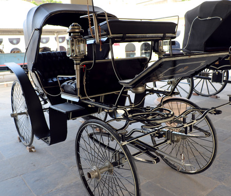 horse drawn: Antique horse drawn buggy Stock Photo