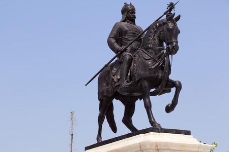 rajput: Life-sized bronze statue of Maharana Pratap at Maharana Pratap Memorial,  Udaipur, balanced on his loyal and favorite horse, Chetak.