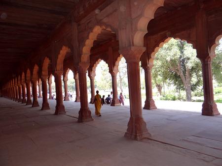 magnificence: Long pillared corridor at Taj Mahal complex, Agra Editorial
