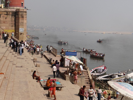 moksha: The Holy River Gangas Ghats in Banaras : Varanasi is the oldest city of the world. Varanasi is more than 3000 years old and is famous as the city of temples.  Varanasi is also known by the name of Kashi and Benaras. Kashi, the city of Moksha for Hindus  Editorial