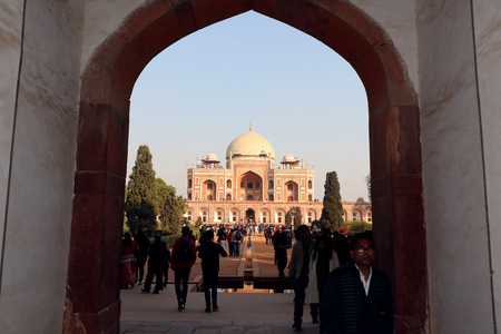 commissioned: Visitors are enjoying at Humayuns tomb is the tomb of the Mughal Emperor Humayun in Delhi, India. The tomb was commissioned by Humayuns wife Bega Begum in 1569-70. Editorial