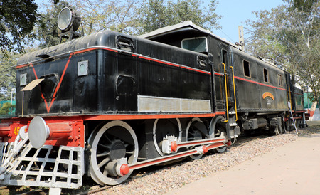 Ane ratiquil engine in National Rail Museum, New Delhi. One can see here about 150 years old engines, coaches, saloon and best preserved steam locomotive engines of its age.
