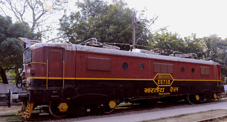 signalling device: Antique rail engine in National Rail Museum, New Delhi. One can see here about 150 years old engines, coaches, saloon and best preserved steam locomotive engines of its age. Editorial