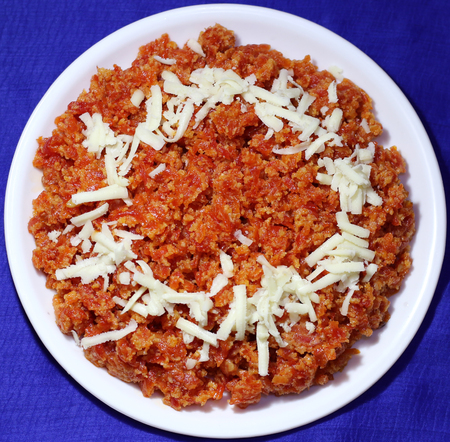 ka: Tasty Gajar ka Halwa or carrot dessert made up of fresh carrot, sugar and milk, favorite Indian dessert usually served in festival or weddings.