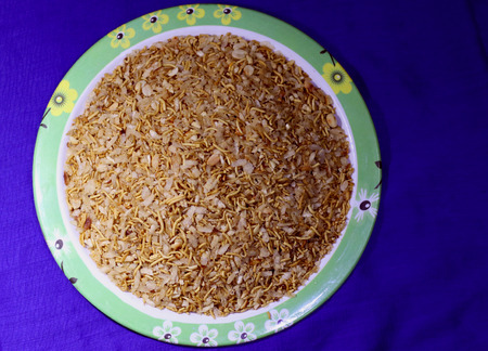sev: Indian Homemade mixed Namkeen snacks: A crispy  crunchy mix of cornflakes, rice flakes, fried poha, sev and peanuts.